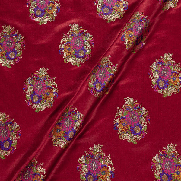 Banarasi Brocade Maroon Colour Floral Satin Fabric