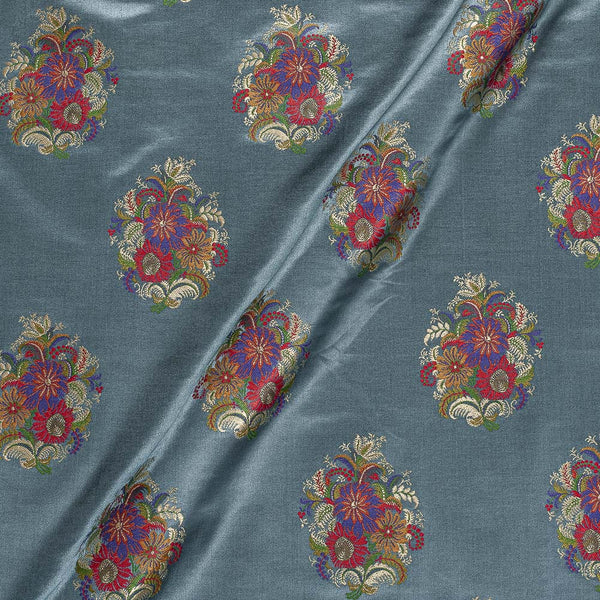 Banarasi Brocade Dark Grey Colour Floral Satin Fabric
