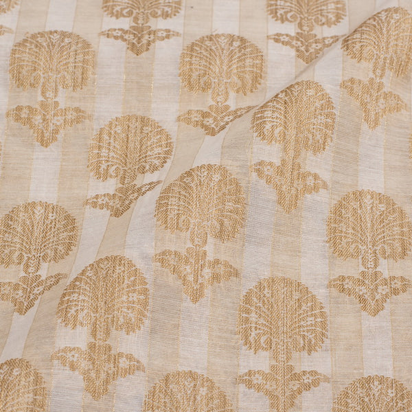 Off White Colour Floral Print Chanderi Feel Fancy Jacquard Cotton Fabric