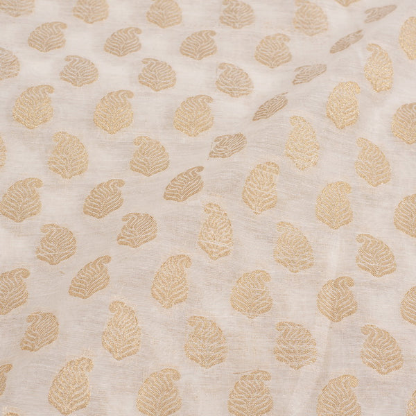 Off White Colour Paisley Print Chanderi Feel Fancy Jacquard Cotton Fabric