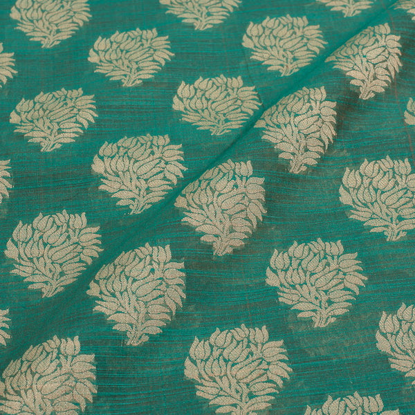 Rama Green Colour Floral Chanderi Feel Fancy Jacquard Cotton Fabric