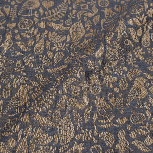 Steel Grey Colour Quirky Print Chanderi Feel Fancy Jacquard Cotton Fabric