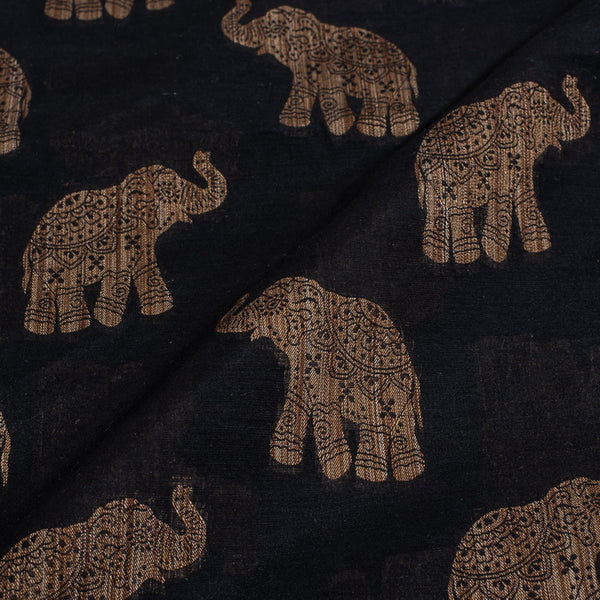 Black Colour Quirky Print Chanderi Feel Fancy Jacquard Cotton Fabric
