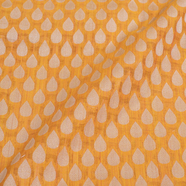 Yellow Colour Leaves Design Chanderi Feel Fancy Jacquard Cotton Fabric