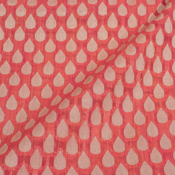 Peach Colour Leaves Design Chanderi Feel Fancy Jacquard Cotton Fabric