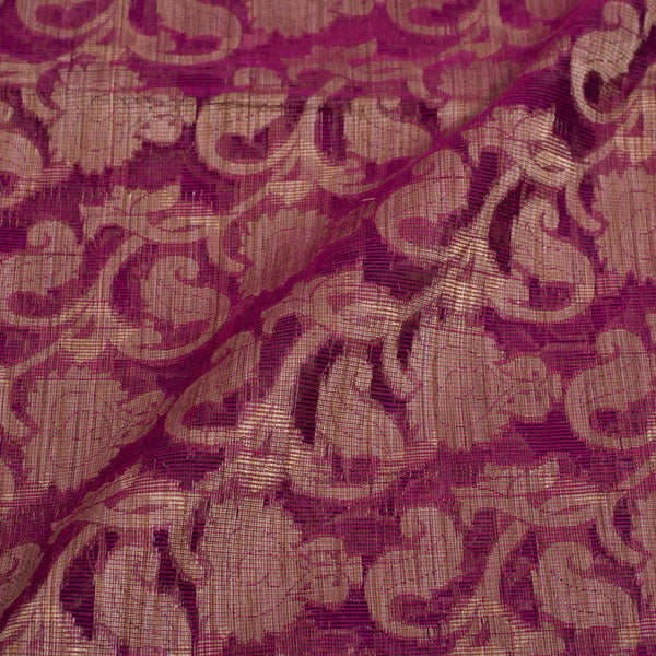 Magenta Colour Floral Jaal Print Chanderi Feel Fancy Jacquard Cotton Fabric