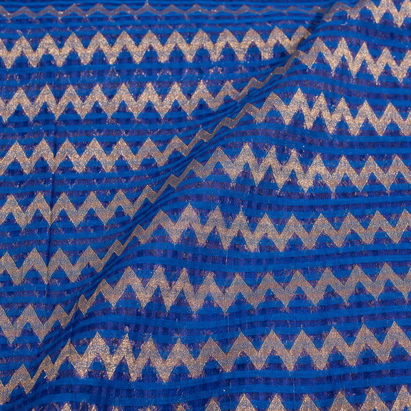 Royal Blue Colour Chevron Print Chanderi Feel Fancy Jacquard Cotton Fabric