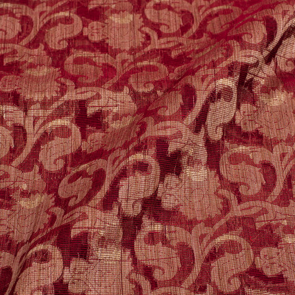 Maroon Colour Floral Jaal Print Chanderi Feel Fancy Jacquard Cotton Fabric