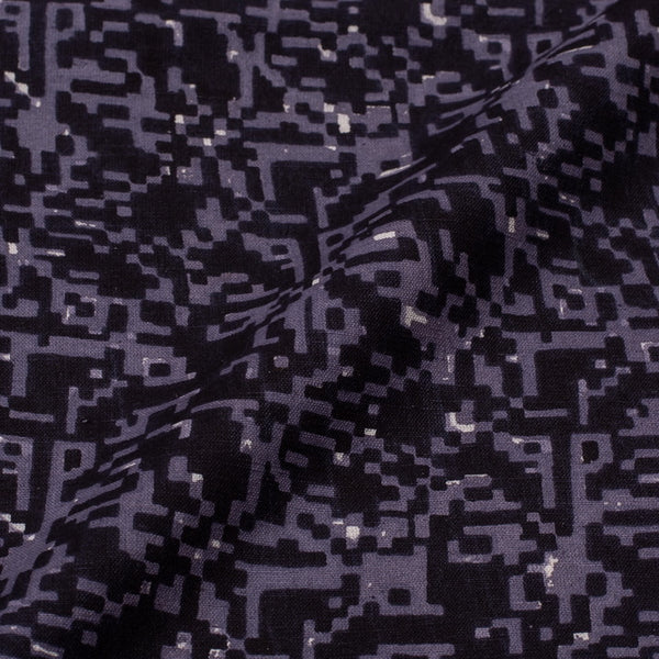 Cotton Black Colour Abstract Print Fabric