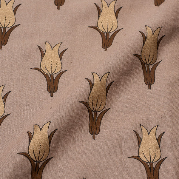 Ginger Colour Floral Foil Print Rayon Fabric