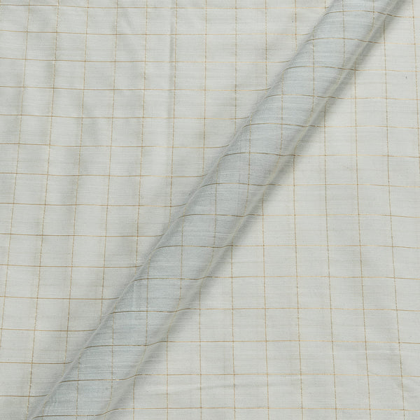 Artificial Raw Silk White Colour Checks Fabric