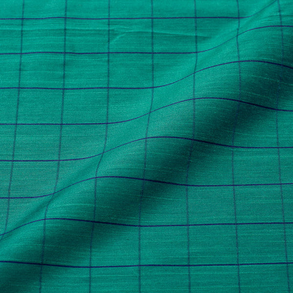 Pool Green Colour Rib Checks Artificial Raw Silk Fabric