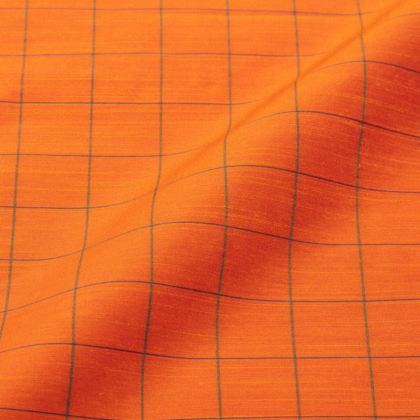 Fanta Orange Colour Rib Checks Artificial Raw Silk Fabric