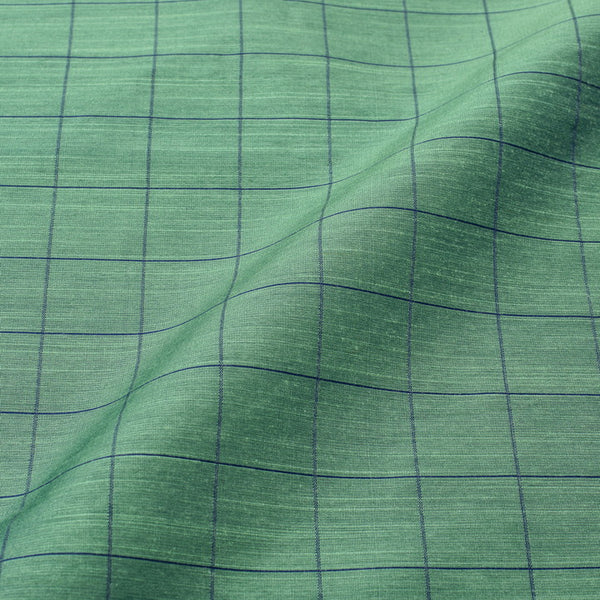 Cambridge Blue Colour Rib Checks Artificial Raw Silk Fabric