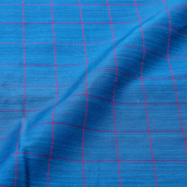 Blue Colour Rib Checks Artificial Raw Silk Fabric