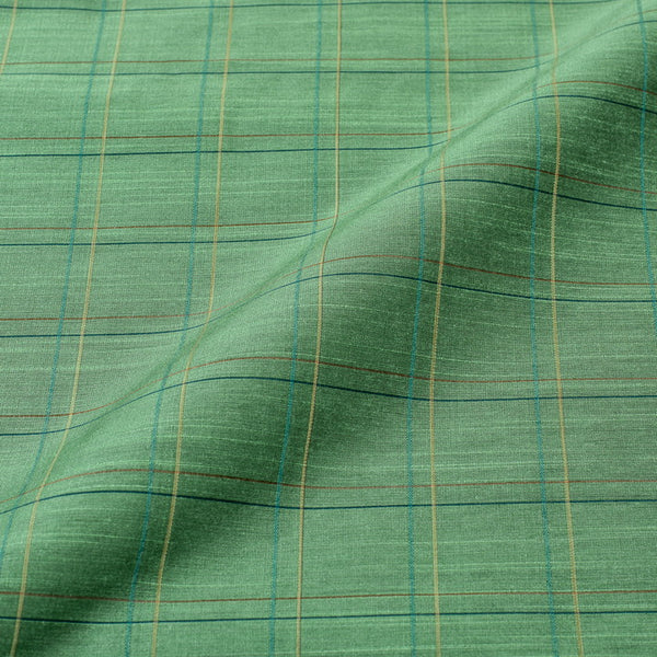 Pista Green Colour Rib Checks Artificial Raw Silk Fabric