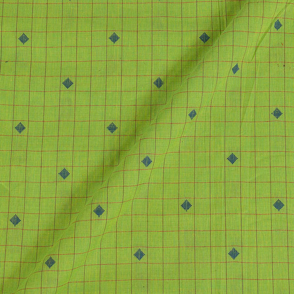 Cotton Checks Parrot Green Colour 42 Inches Width Jacquard Butta Fabric