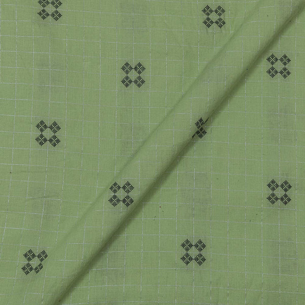 Cotton Pastel Green Colour 43 Inches Wiidth Lurex Checks Jacquard Butta Fabric