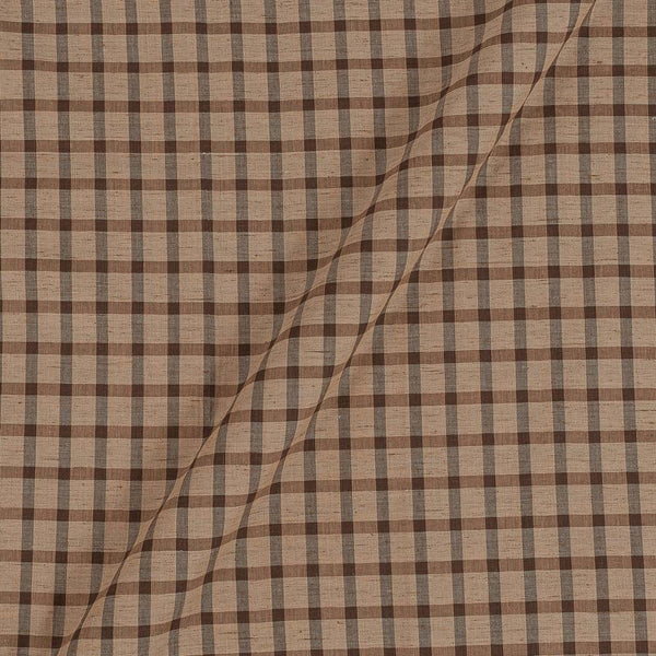 Slub Cotton Beige Colour Checks Jacquard Fabric