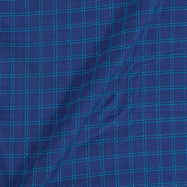 Handloom Cotton Violet Blue Colour 42 Inches Width Checks Fabric