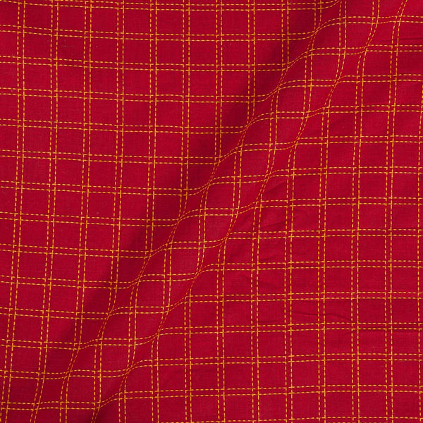Handloom Cotton Red Colour 42 Inches Width Checks Fabric