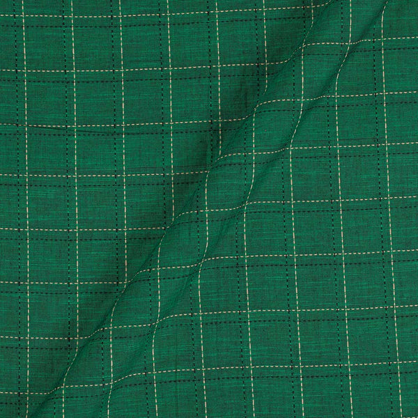 Slub Cotton Fern Green Colour 42 Inches Width Checks Jacquard Fabric