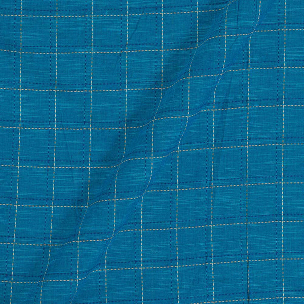 Slub Cotton Ocean Blue Colour 42 Inches Width Checks Jacquard Fabric