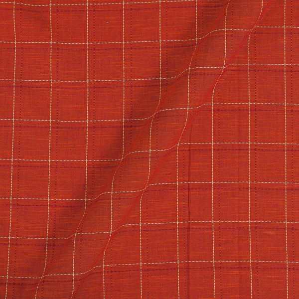 Slub Cotton Rust Orange Colour 42 Inches Width Checks Jacquard Fabric
