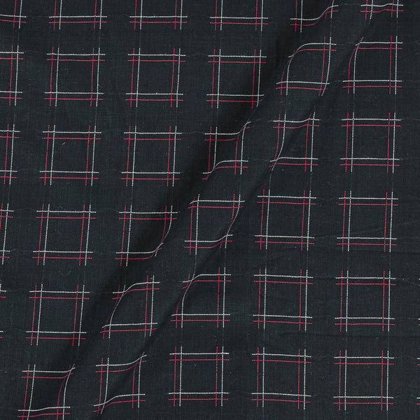 Handloom Cotton Black Colour 42 Inches Width Zari Checks Jacquard Fabric