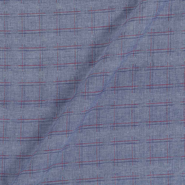 Handloom Cotton Cadet Blue Colour 42 Inches Width Zari Checks Jacquard Fabric