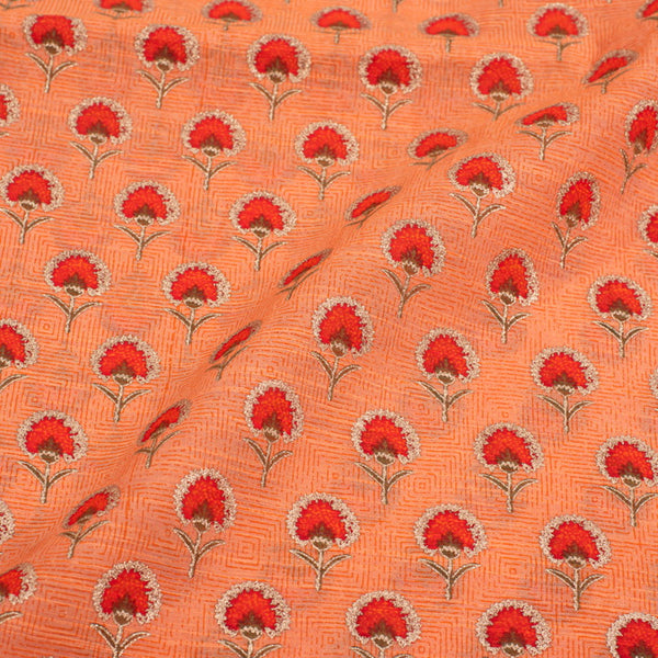 Pastel Orange Colour Chanderi Feel Gold Floral Block Print Cotton Fabric