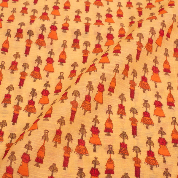 Yellow Colour Chanderi Feel Quirky Block Print Cotton Fabric