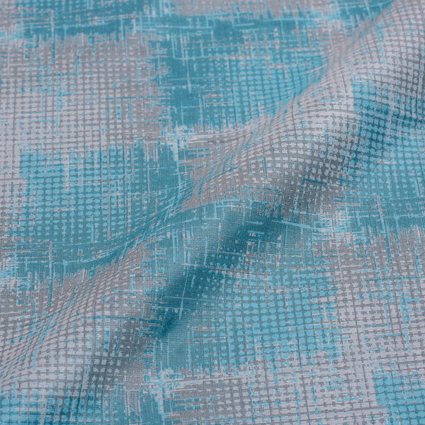Baby Blue Colour Brush Effect Print Chanderi Feel Jacquard Cotton Fabric 54 inch Width