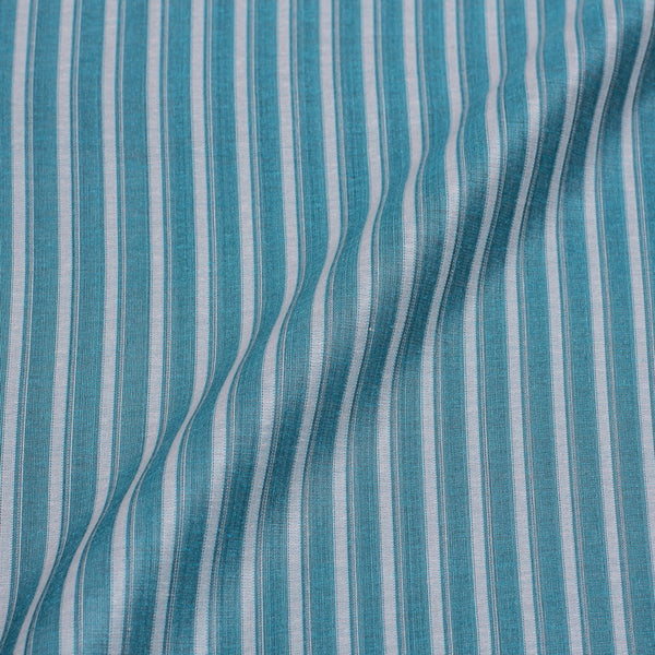 Baby Blue Colour Stripes Print Chanderi Feel Jacquard Cotton Fabric 54 inch Width