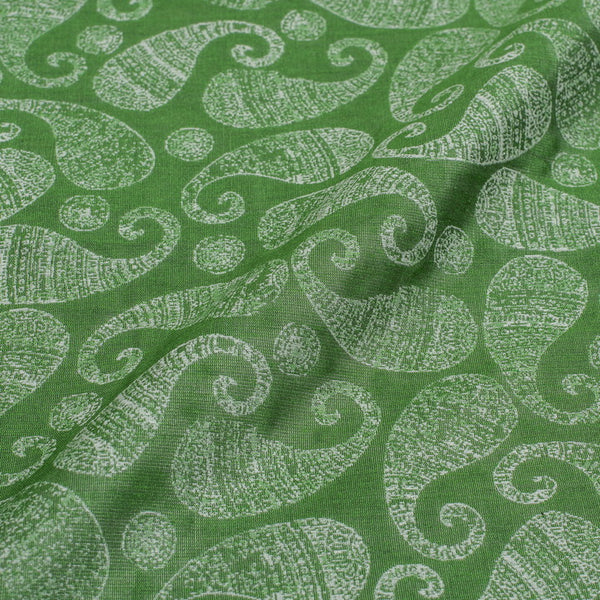 Green Colour Paisley Print Chanderi Feel Jacquard Cotton Fabric 54 inch Width
