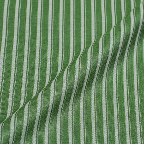 Green Colour Stripes Print Chanderi Feel Jacquard Cotton Fabric 54 inch Width