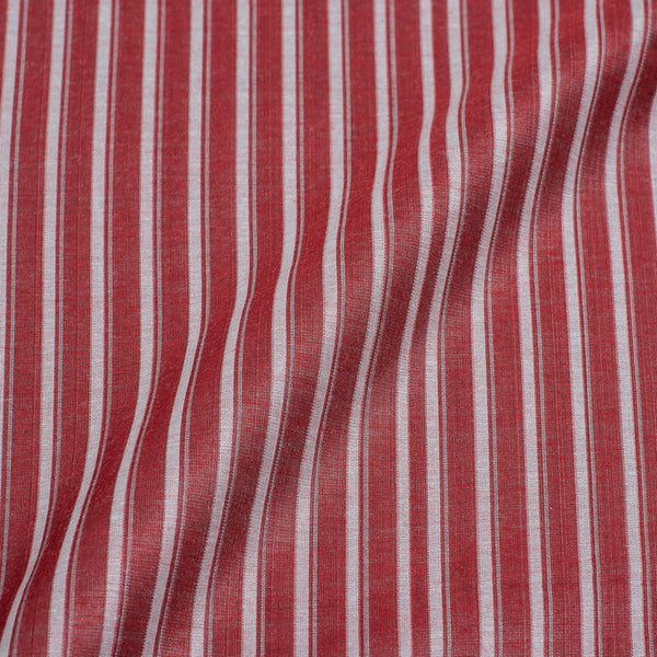 Brick Colour Stripes Print Chanderi Feel Jacquard Cotton Fabric 54 inch Width