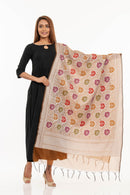 Beige Brown Colour Floral Jaal Print With Border Chanderi Feel Dupatta