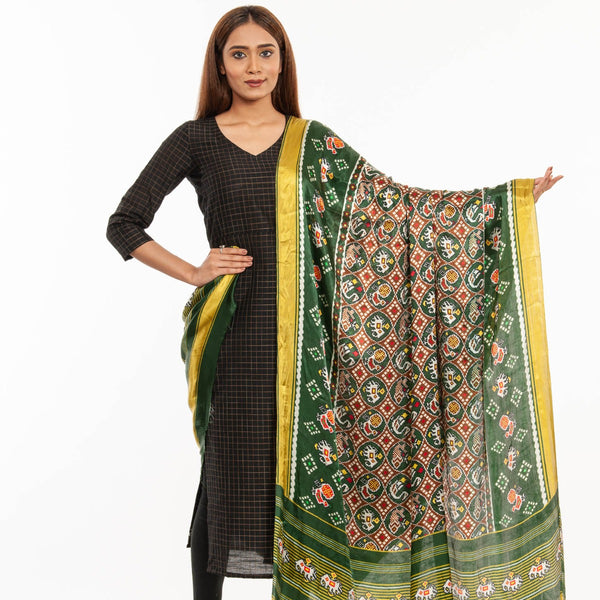 Bottle Green Colour Digital Patola Print Modal Dupatta