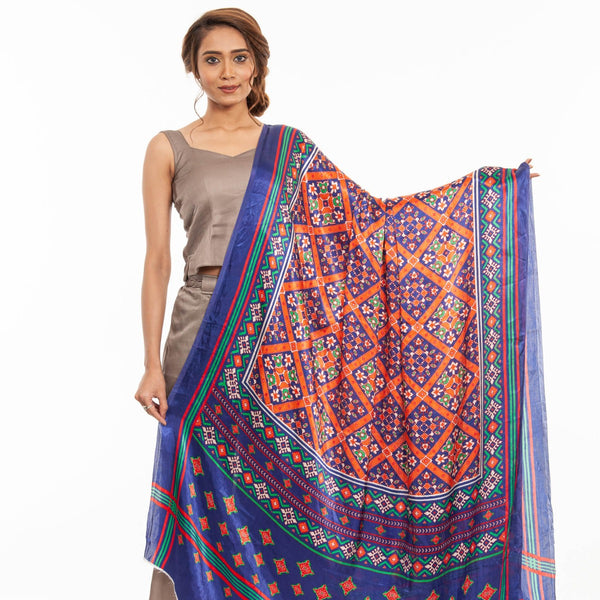 Royal Blue Colour Digital Patola Print Modal Dupatta