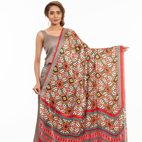 White Colour Digital Patola Print Modal Dupatta
