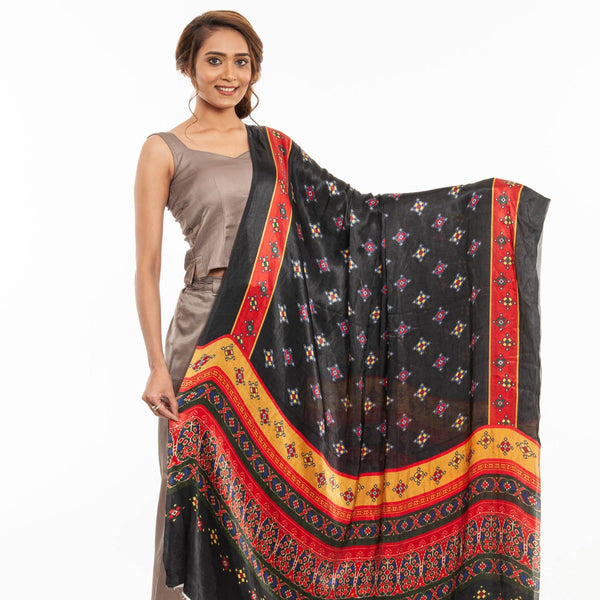 Black Colour Digital Patola Print Modal Dupatta