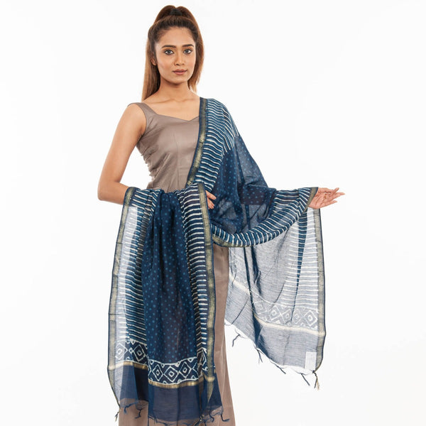 Indigo Colour Geometric Print With Ajarakh Border & Tessels Cotton Dupatta