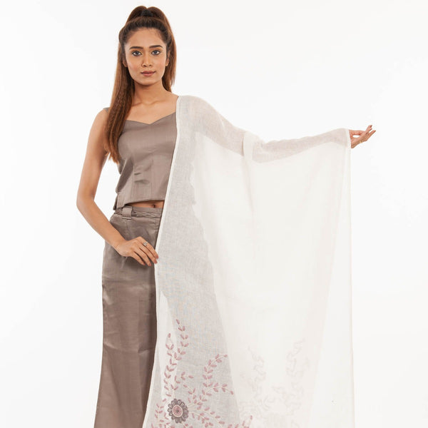 White Colour Laid & Couching Embroidered Linen Dupatta