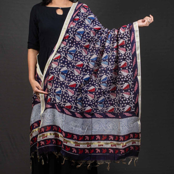 Navy Blue Colour Floral Jaal Print Chanderi Feel Cotton Dupatta