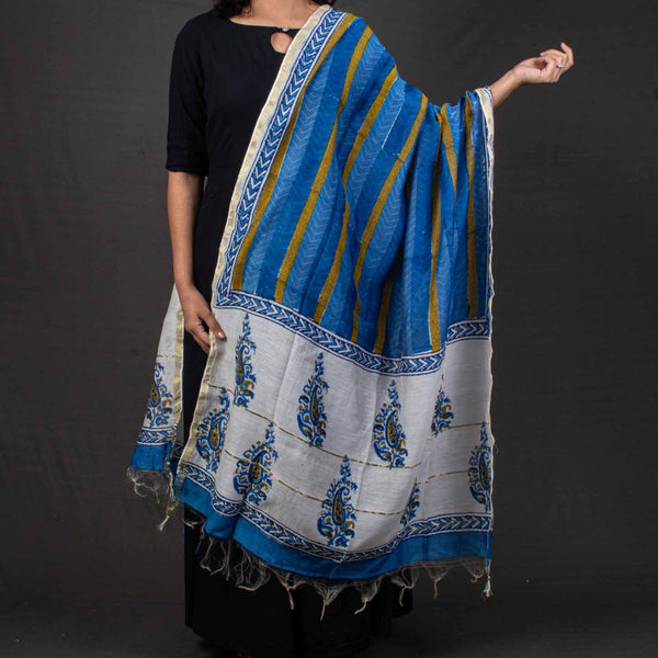 Off White Colour Paisley Print Chanderi Feel Cotton Dupatta