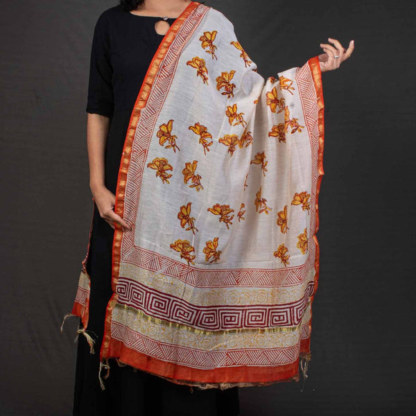 Off White Colour Floral Print Chanderi Feel Cotton Dupatta
