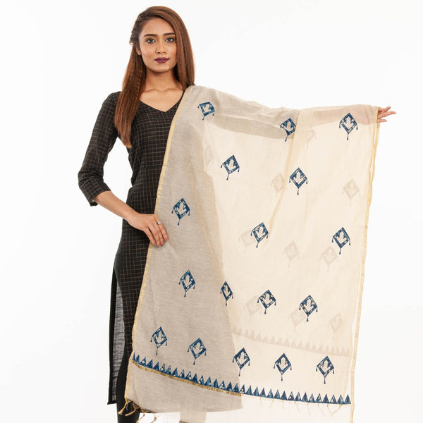Beige Colour Applique Chanderi Dupatta