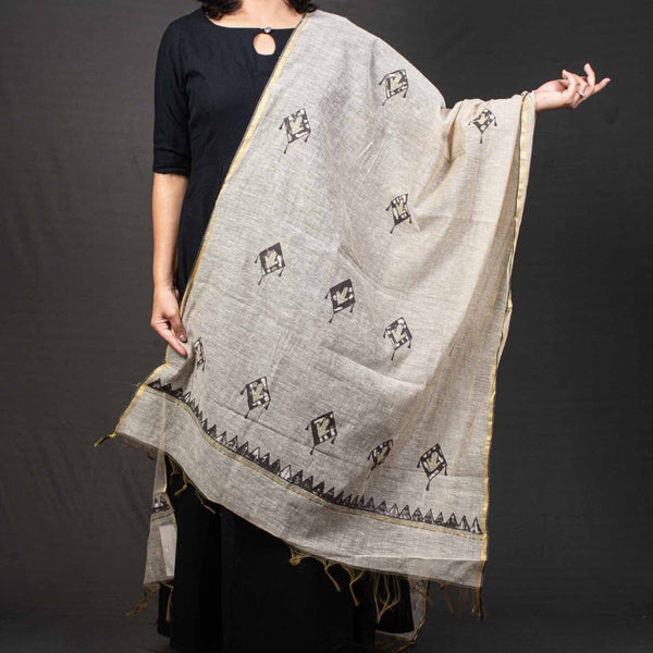 Beige Colour Thread Work Chanderi Dupatta