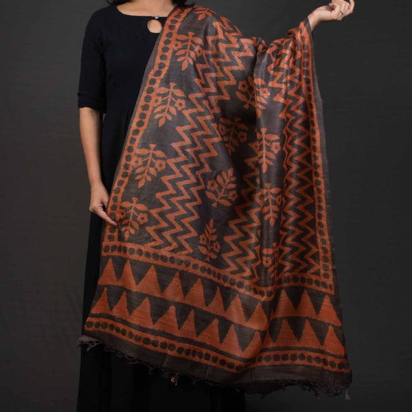 Orange Brown Colour Dabu Print Tussar Dupatta